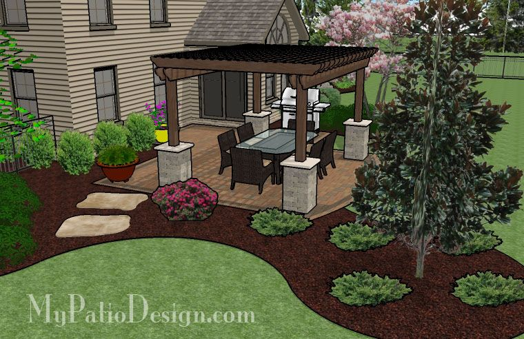 Pergola Shades Patio With Grill Pad Patio Designs And