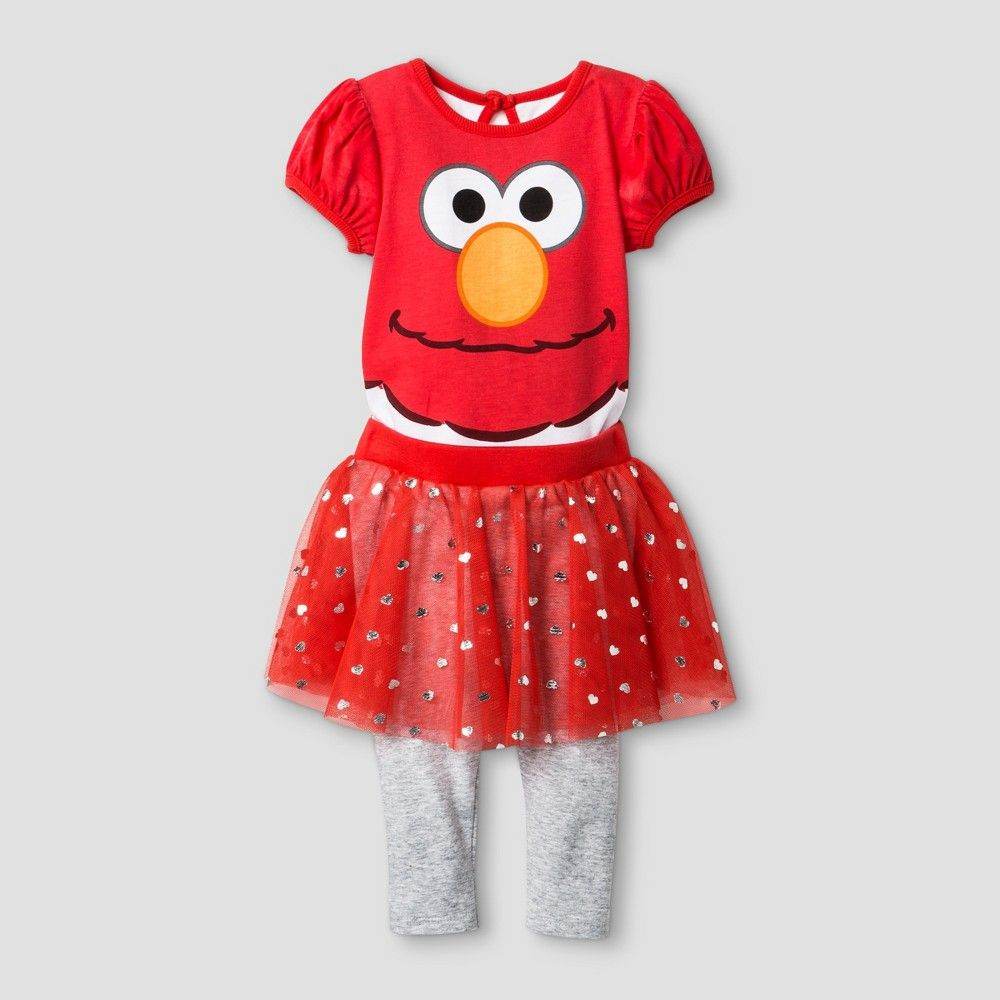 ac136d99e Baby Girls' Sesame Street Elmo Bodysuit & Leggings Tutu Set - Red ...
