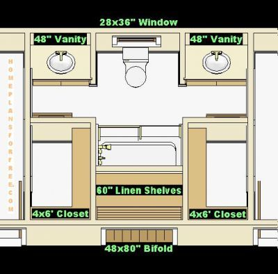 Jack and jill with closet in the vanity area put pocket - Jack and jill bathroom plans ...