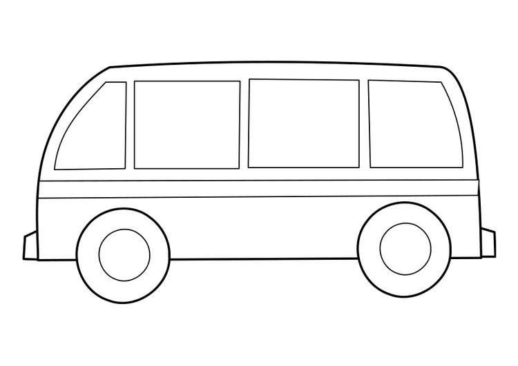 Simple Hong Kong Style Minibus For Coloring Page Or Craft With