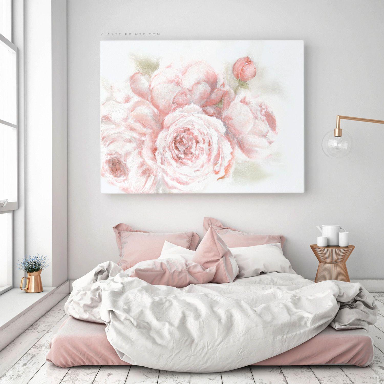 Peony Art Print Blush Pink Bedroom Wall Art Peonies Wall Art