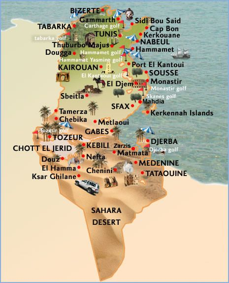 Tunisia map tourist attractions Africa Pinterest Africa