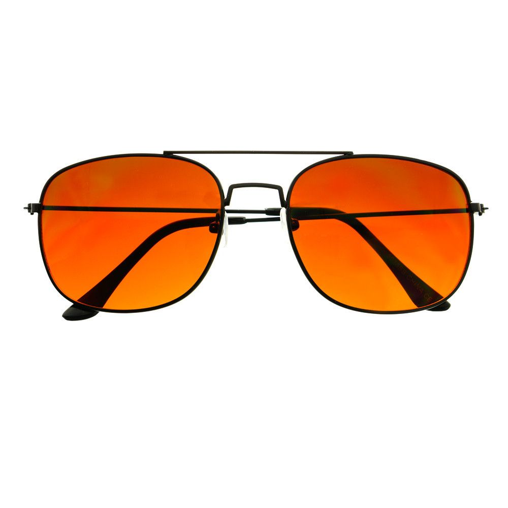 #orange #driving #lens #blue #blocking #lens #black #Metal #square #aviator #sunglasses #shades