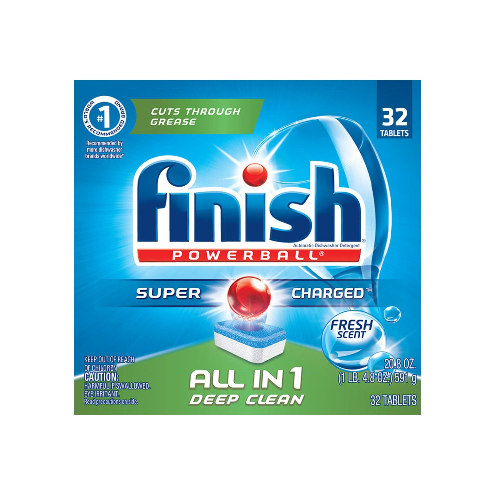 Finish Powerball Tabs Dishwasher Detergent Tablets Fresh Scent