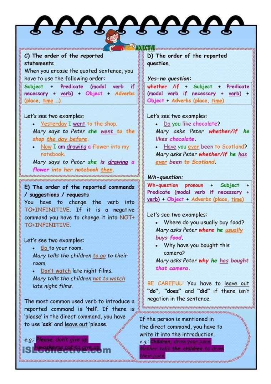 Reported Speech 2 | Grammar | Pinterest | English grammar, English ...