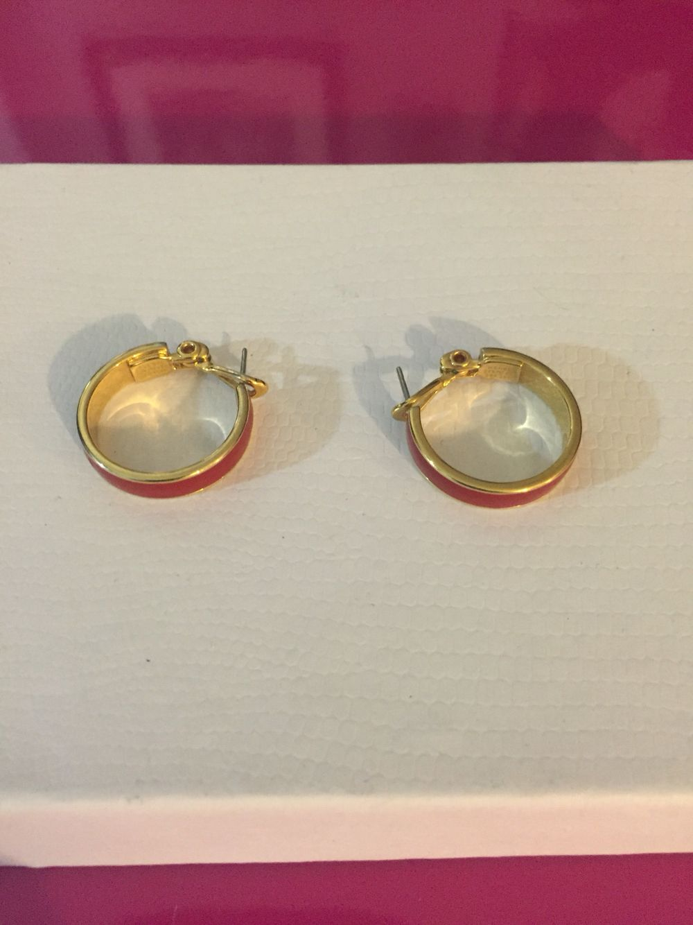 Gold Tone Red Enamel Hoop Earrings By Monet My Personal