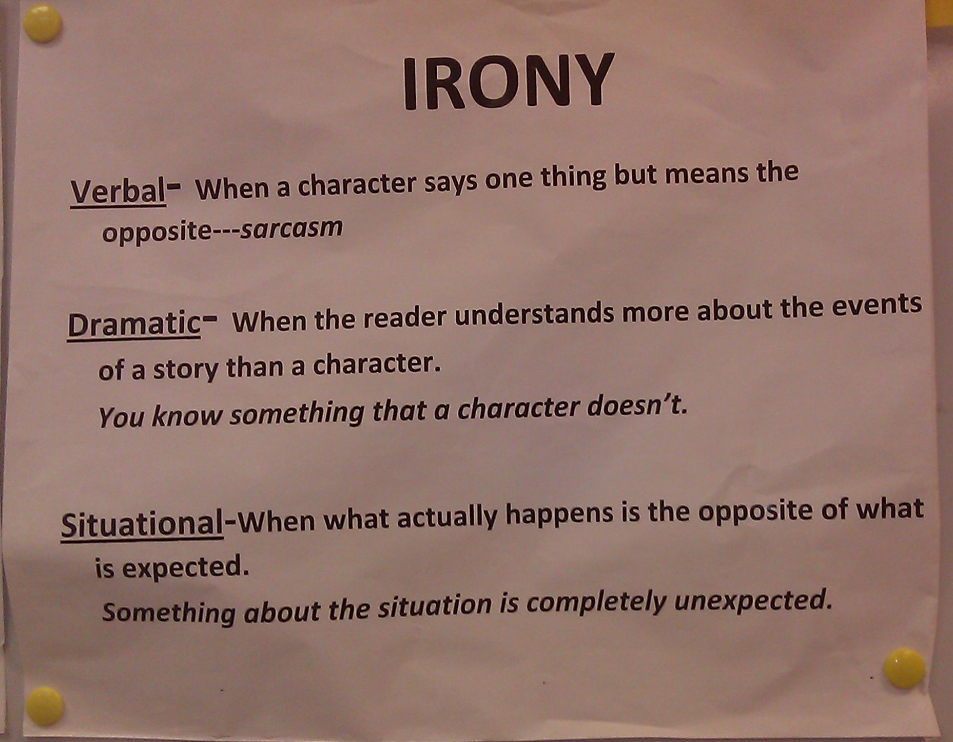 3 types of irony essay Irony in literature essay examples 15 total results the three types of irony in the cask of amontillado, a short story by edgar allan poe 1,598 words 4 pages figuring out the ironies in the story of an hour by kate chopin 363 words 1 page antigone's relationship with her brother in antigone by sophocles.