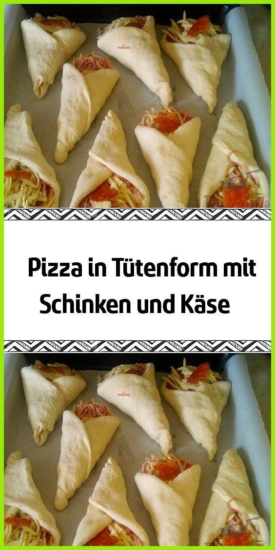 Pizza in Tütenform mit Schinken und Käse #fitness Rezepte #Käse #kuchen Rezepte #mit #Pizza #Schinke...