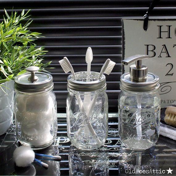 handmade vintage style clear glass ball mason bathroom accessory jar set with modern satin nickel fittings - Bathroom Accessories Vintage Look