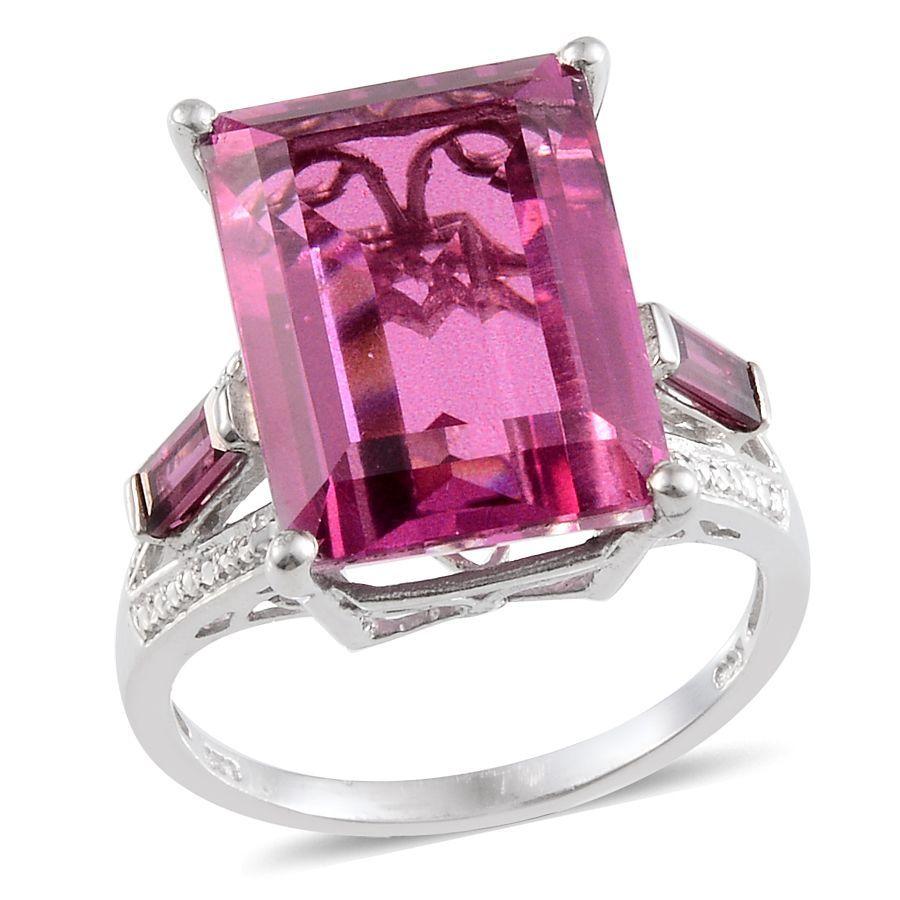 Radiant Orchid Quartz and Orissa Rhodolite Garnet Ring in Platinum ...