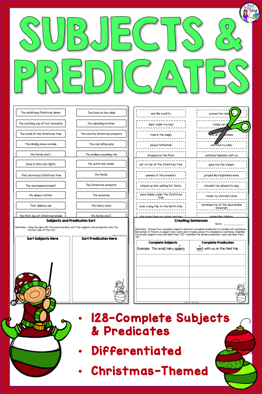 Subjects And Predicates Activities Christmas Themed Subject And Predicate Christmas Themes Predicates [ 1256 x 837 Pixel ]