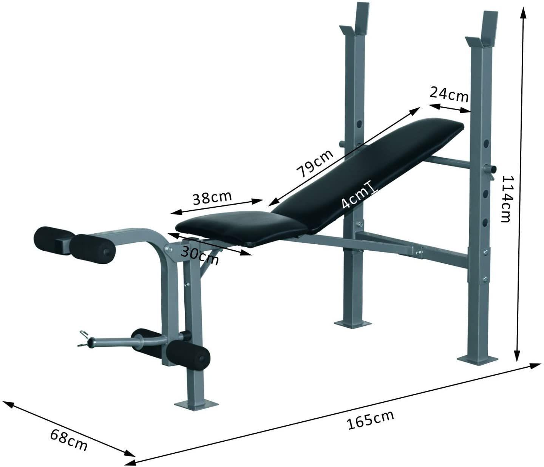 Homcom Banco De Musculación Banco De Pesas Maquina De Fitness Entrenar Musculos 165x68x114cm Bancos De Pesas Banco De Musculacion Gimnasio De Crossfit En Casa