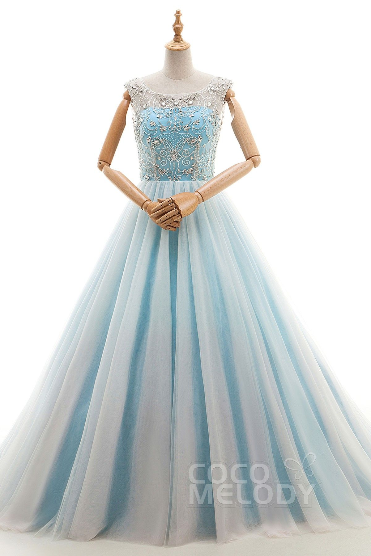 Trendy aline illusion natural court train tulle blue glow