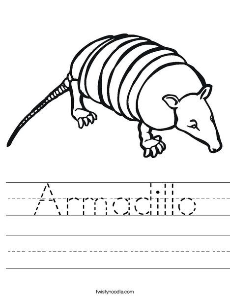 Armadillo Worksheet - Twisty Noodle | Animals worksheets ...