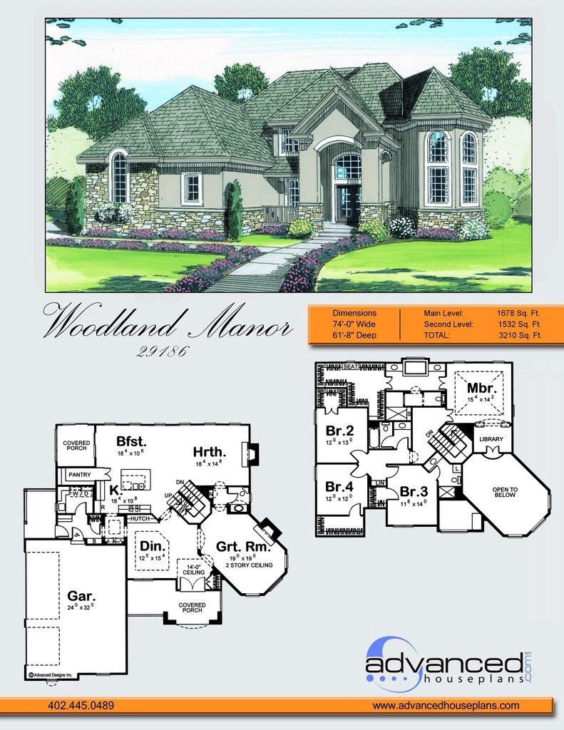 2 Story Traditional House Plan Woodland Manor