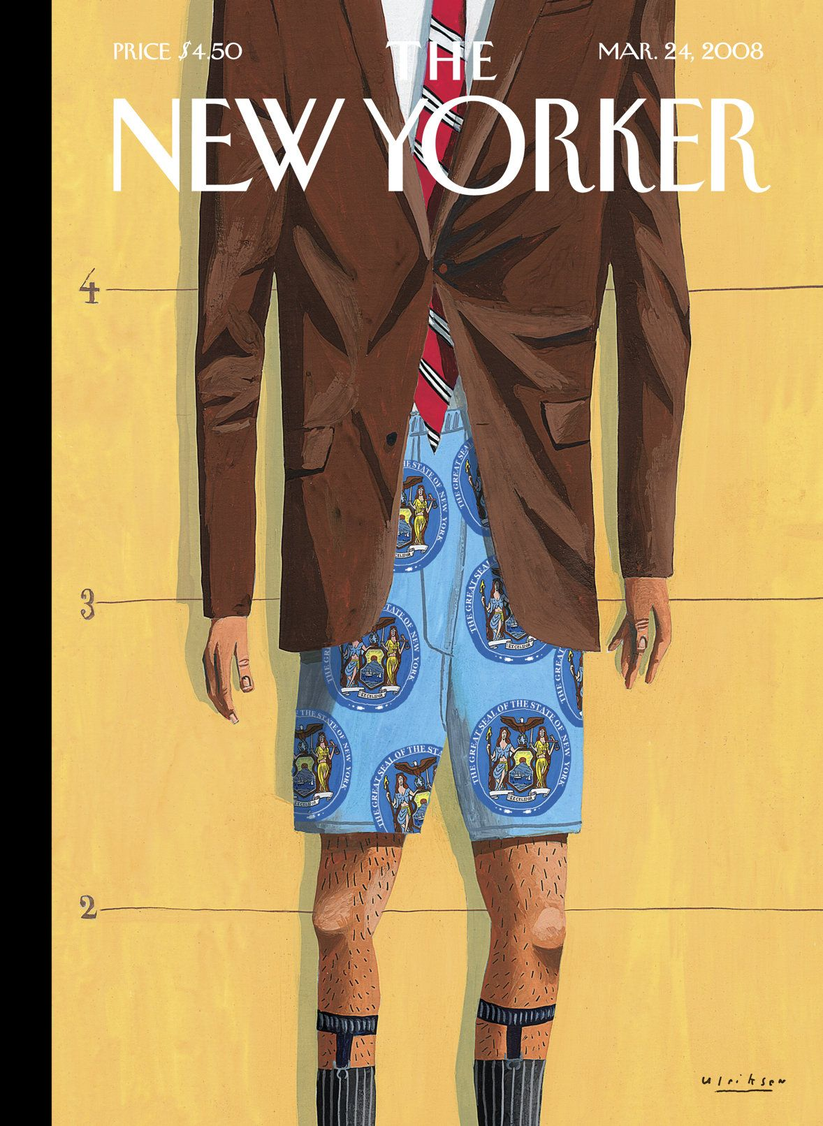 """The New Yorker - Monday, March 24, 2008 - Issue # 4255 - Vol. 84 - N° 6 - Cover """"The Emperor's New Clothes"""" by Mark Ulriksen"""