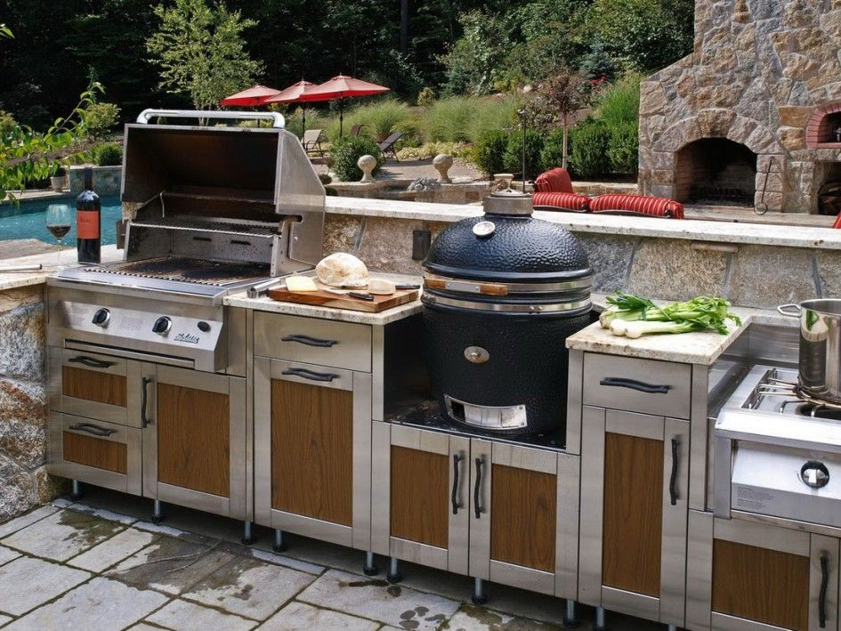 Hypnotic Outdoor Metal Kitchen Cabinets With Finished Wood Cabinet