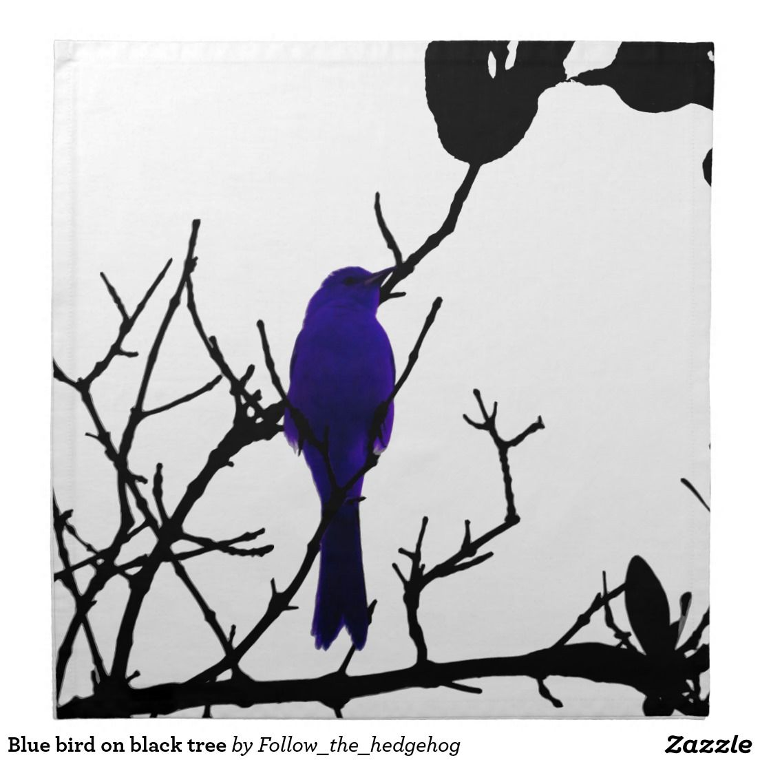 Blue bird on black tree cloth napkin Find out other colors and versions.