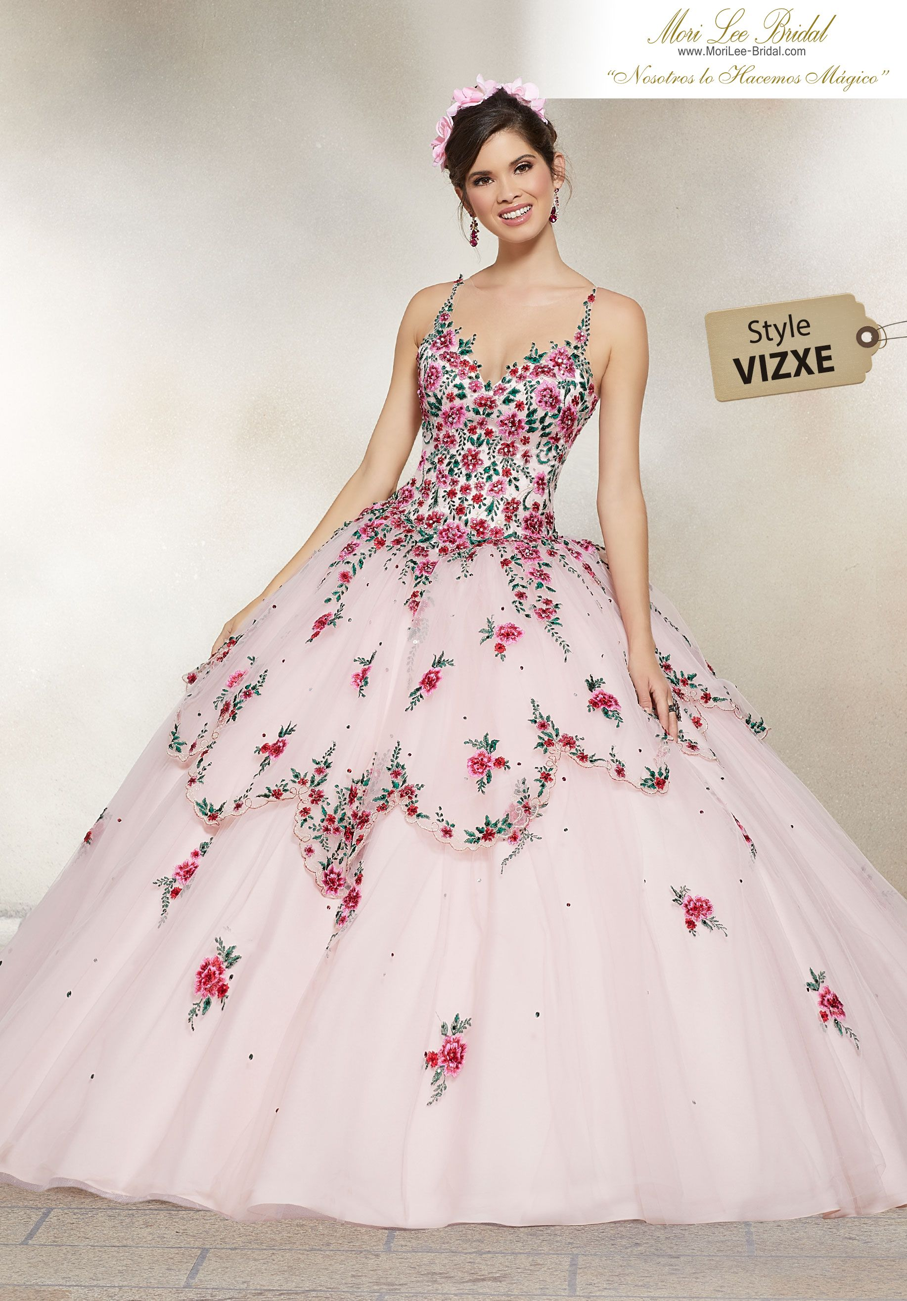 41888b10bfd Crystal Beaded Embroidery with Scalloped Skirt Overlay on a Tulle Ballgown  This Gorgeous Quinceañera Ballgown Perfectly