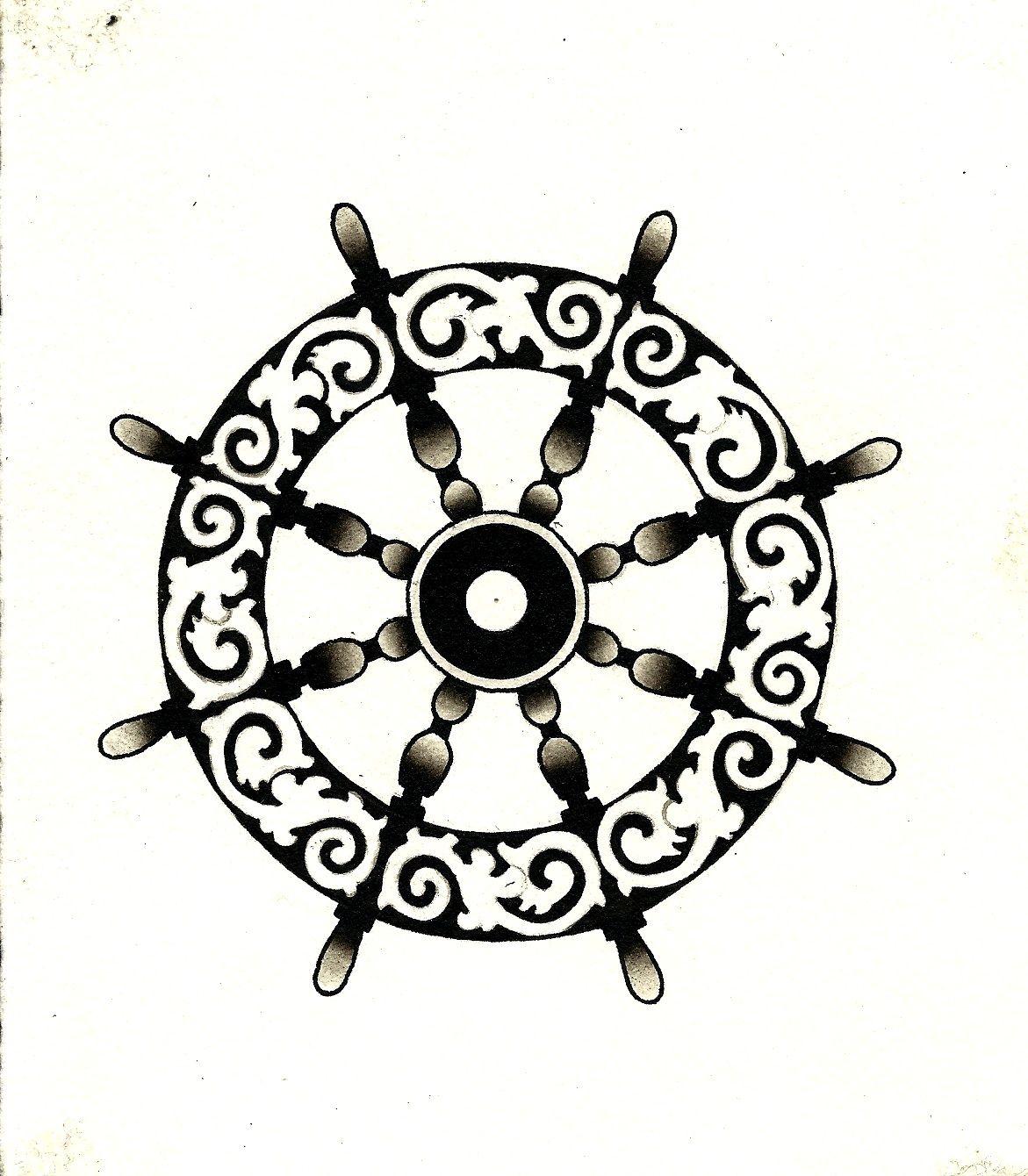Ships Wheel Tattoo