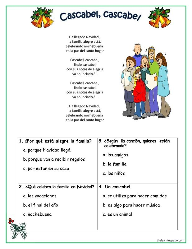 free pdf spanish christmas carols comprehension questions http www thelearningpatio