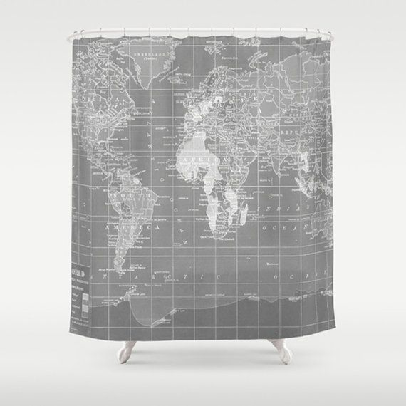 Gray world map shower curtain gray and white home decor travel this world map print is an early 1900s map that is printed in a sophisticated dark gray and white perfect for an industrial chic bathroom or anywhere gumiabroncs Gallery
