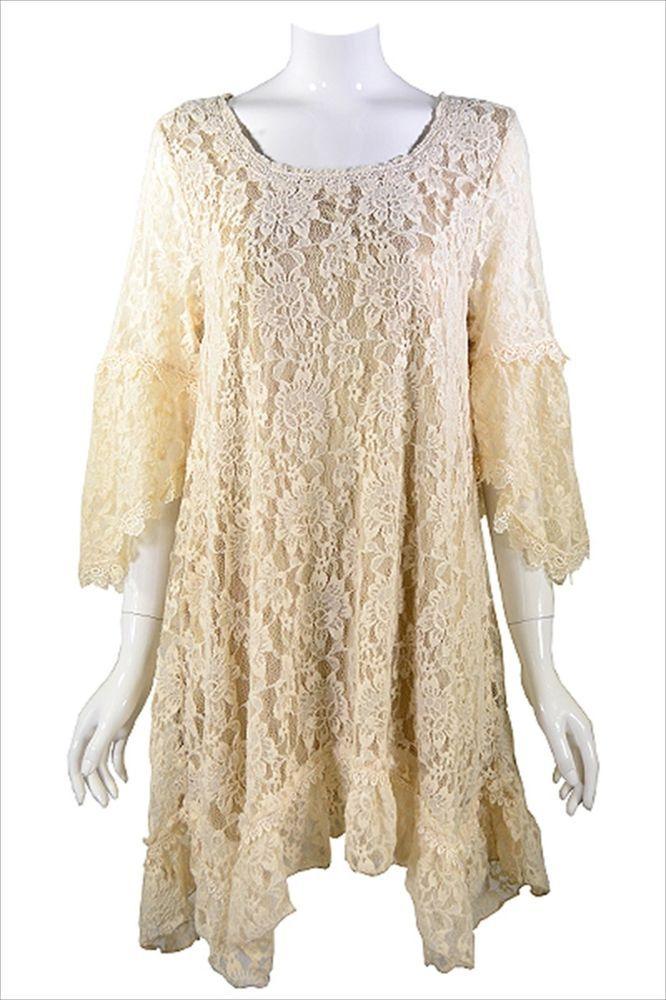 Plus Size 1XL 2XL Tunic Beige Lace Floral Vintage Romantic Boho Top Plus SZ New