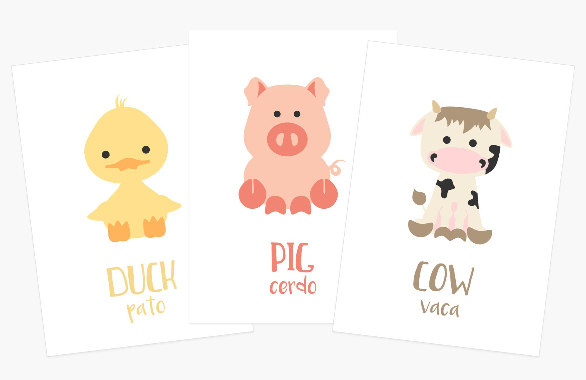Gift for 2 year old farm animal flash cards spanish