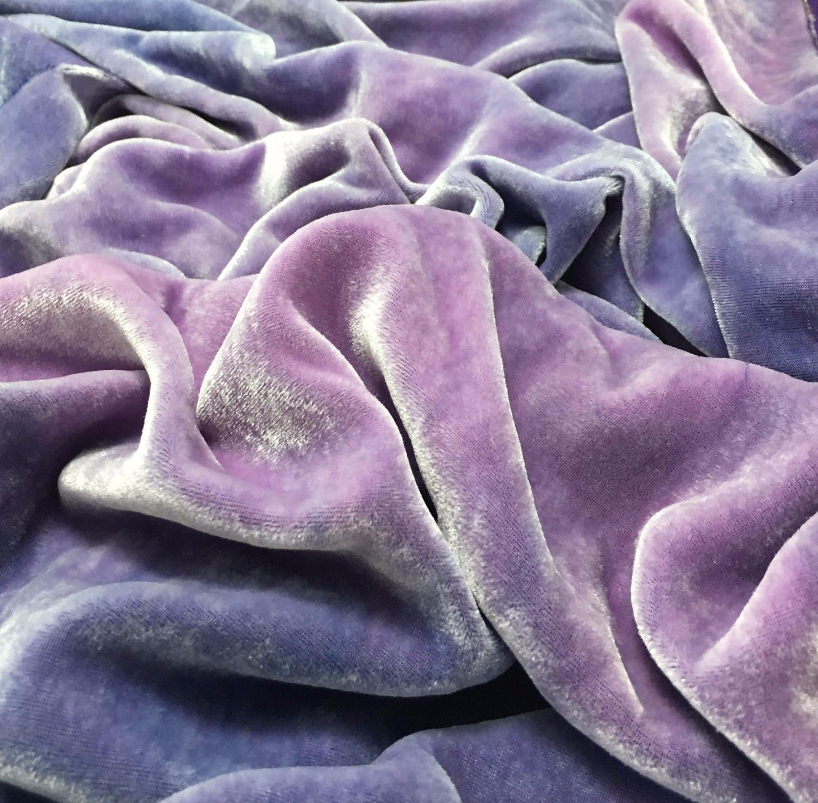 """Hand Dyed Silk VELVET Fabric Turquoise Sky 9/""""x22/"""" remnant"""
