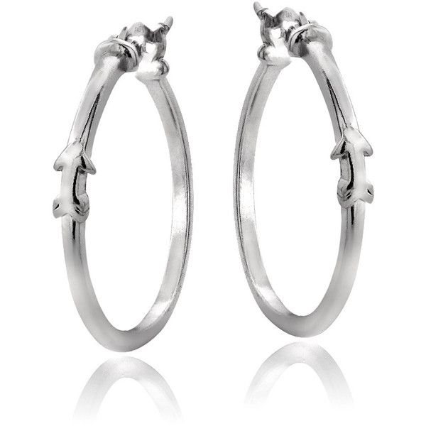 Mondevio Sterling Silver Arrow Polished Hoop Earrings ($23) ❤ liked on Polyvore featuring jewelry, earrings, white, clasp earrings, sterling silver jewelry, white hoop earrings, long earrings and earrings jewelry