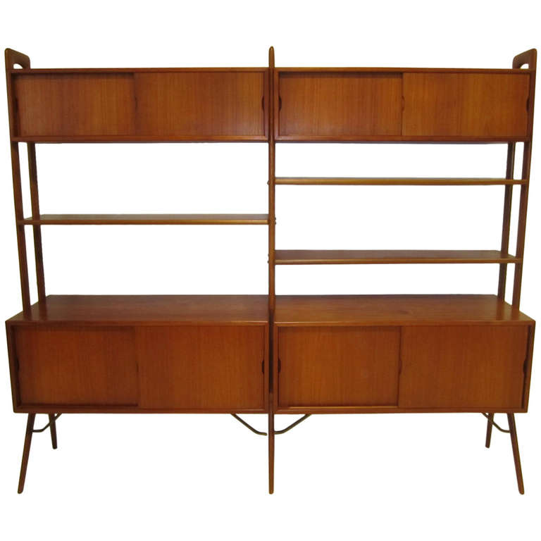 Danish Modern Two-Section Teak Room Divider Wall System by Kurt ...