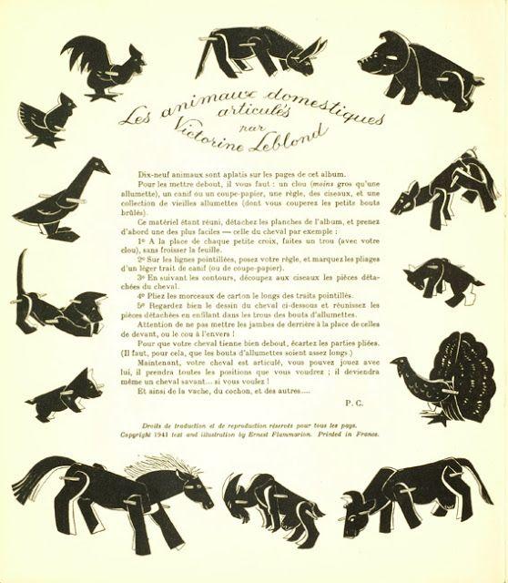 paper toys:  Victorine Leblond, Animaux domestiques articulés: Découpage et montage sans collage, 1941