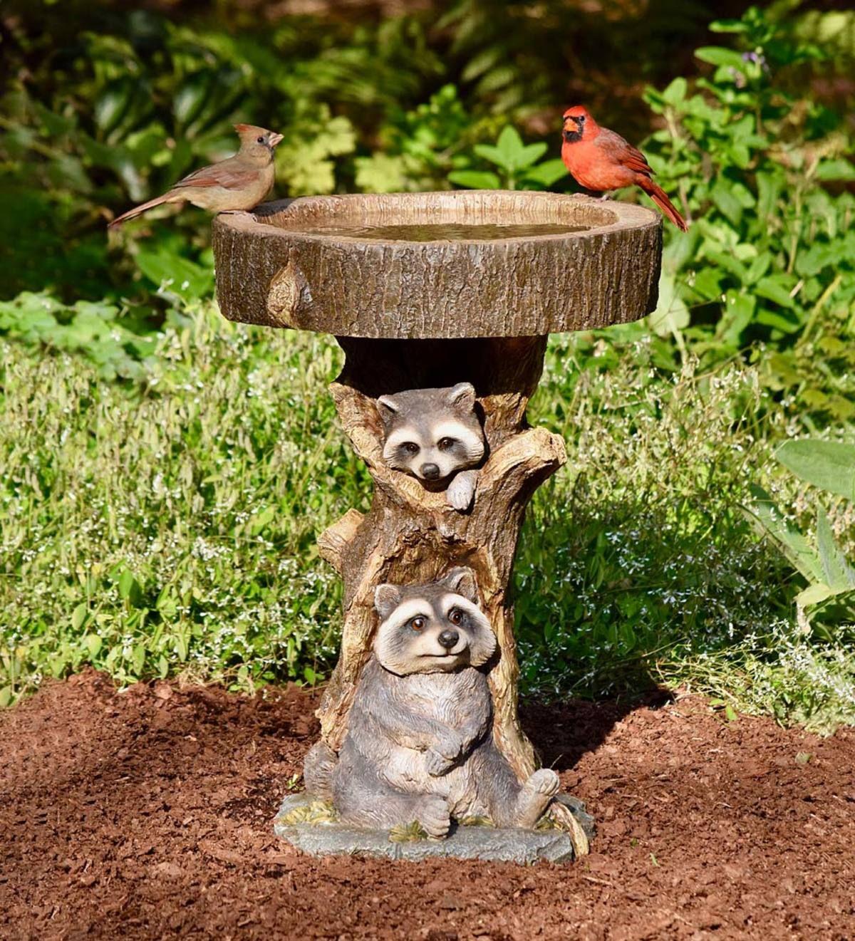 Resin Raccoon Birdbath Birdbaths Plowhearth Bird Bath Low Maintenance Garden Design Plow Hearth