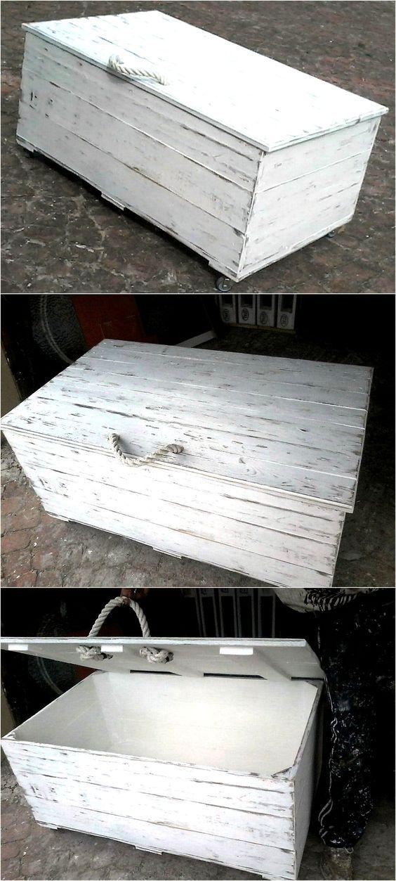 Rustic White Wash Pallet Wood Kist | Wood pallets, Pallet ...