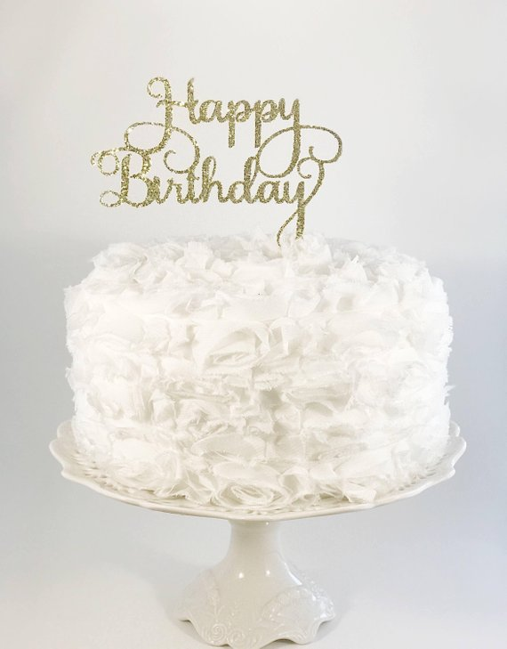 Happy Birthday Cake Topper Glitter Party Decorations Mom Dad Sister Brother Daughter Son Cou