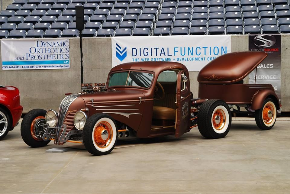 Sweet Custom Hot Rod Pickup With Matching Trailer In A Deep Bronze Paint Job Hot Rod Pickup Hot Rods Monster Trucks