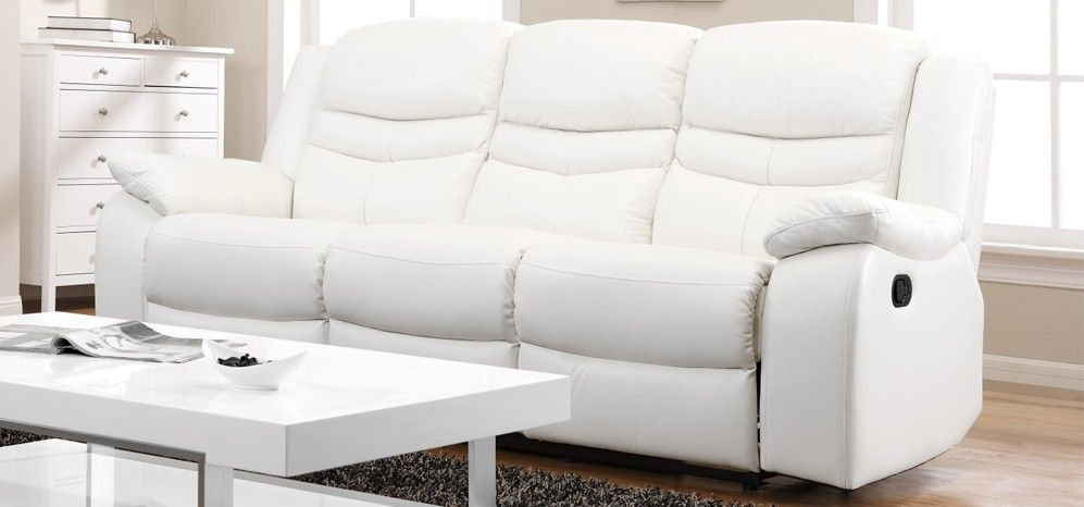 Massive 70% OFF - Was £1,549.00 - Now Just £450.00  3 Seater 2 x Contour Blossom White Reclining 3 Seater Leather Sofa.