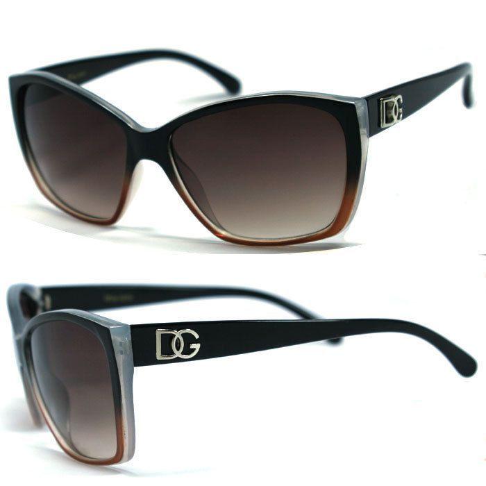 bd0712ee2fc Dg Womens Cat Eye Designer Sunglasses -Two Tone Black   Brown Dg175 ...