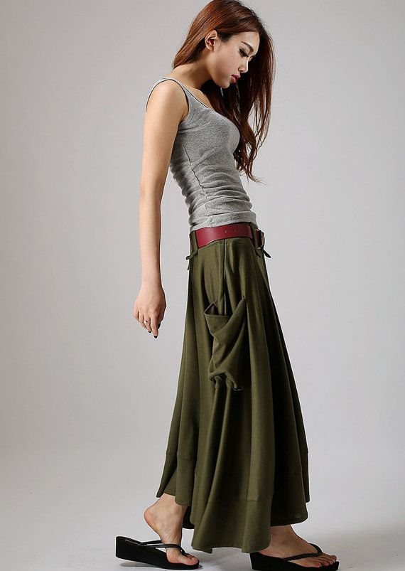 Army Green skirt,women maxi skirt with large side pockets ...