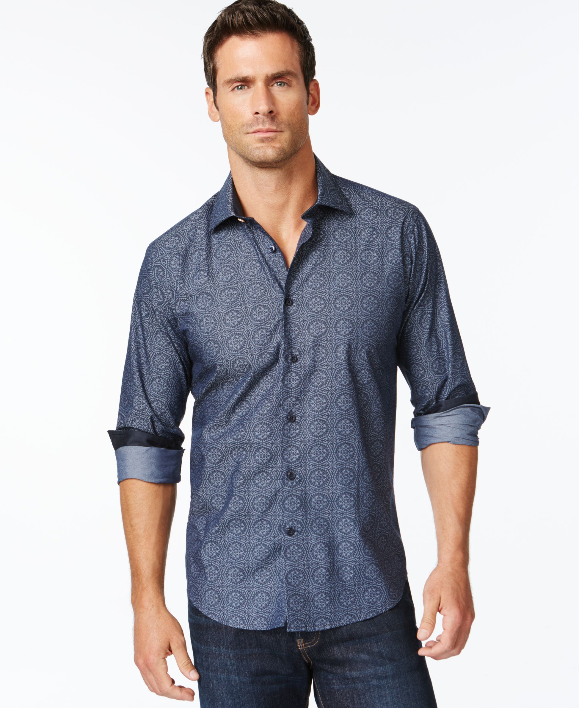 Tallia Star Medallion Geometric-Print Long-Sleeve Shirt