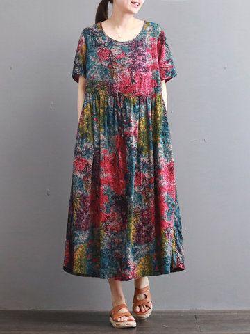 c0eedc8335db Hot-sale O-NEWE Vintage Printed Short Sleeve O-Neck Women A-Line Dress{ -  NewChic Mobile.