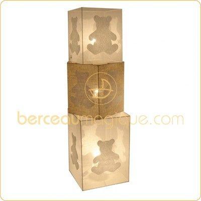Lampe cube chambre bébé ours blanc (organdi) - Voilà ma maison ...
