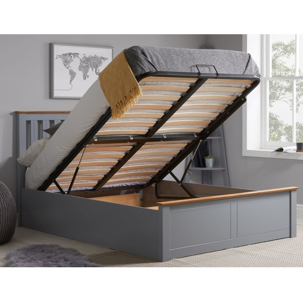 Phoenix Stone Grey Wooden Ottoman Storage Bed Frame Only 4ft