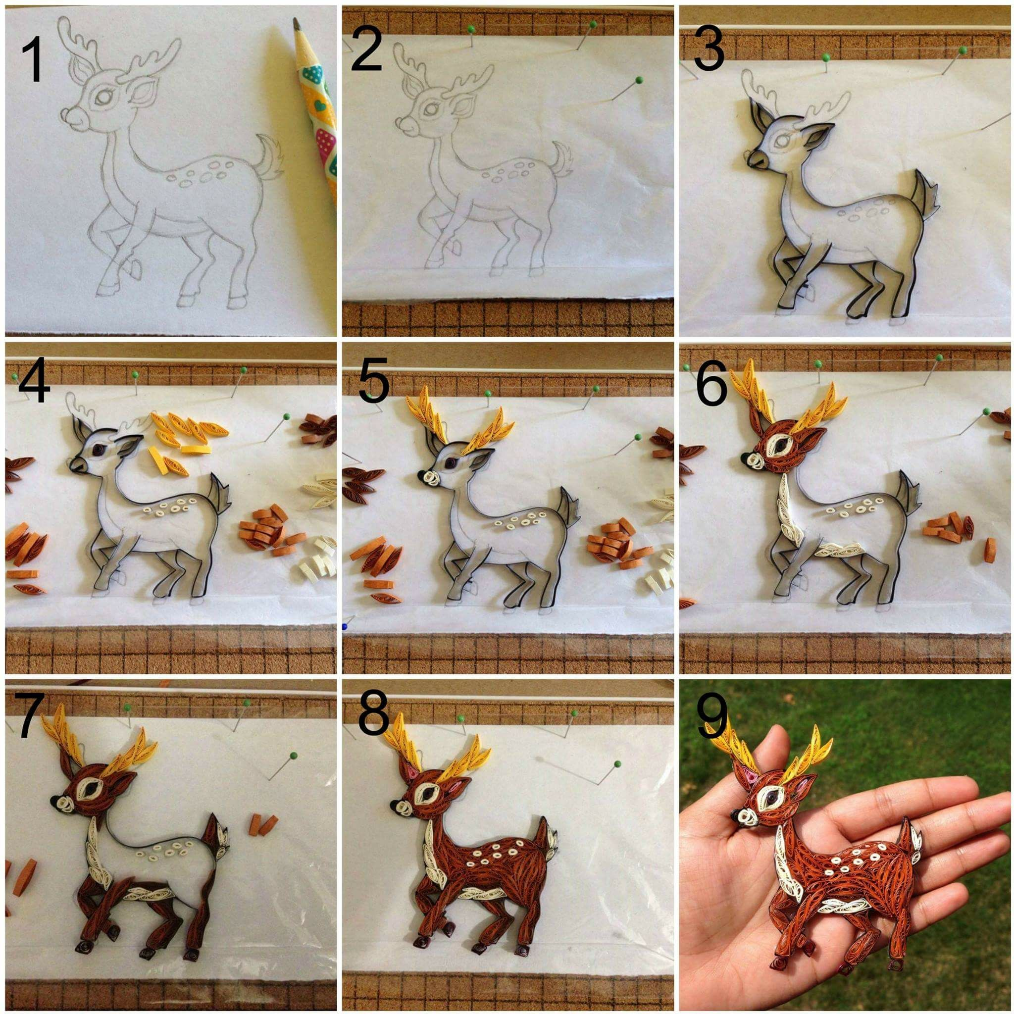 Quilled deer tutorial