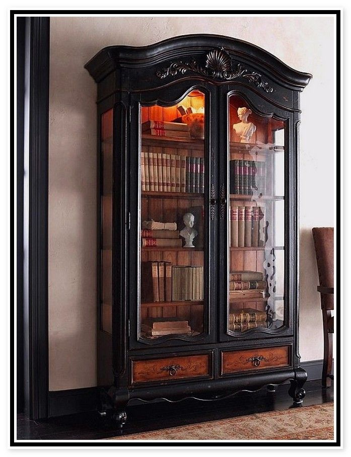 Vintage Furniture Glass Living Room Showcase Design Wood: Corner Bookshelf With Glass Doors (With Images