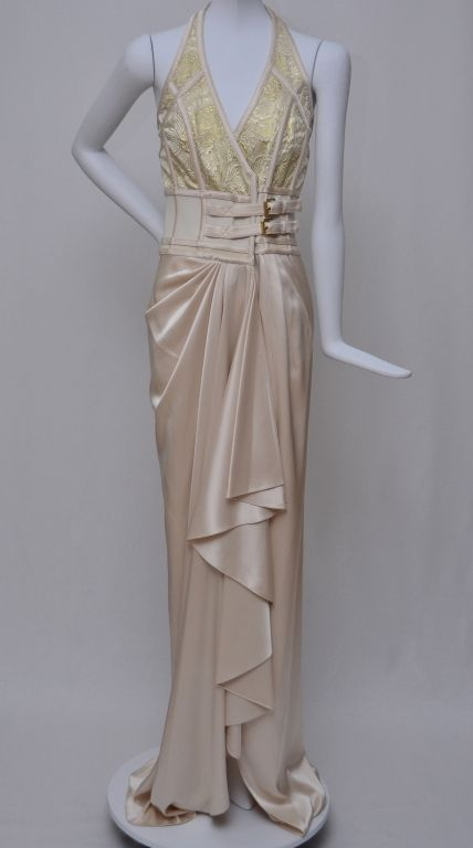 f866b6c18a Martier Raymond V-neck Gold Glass Beaded Evening Gown