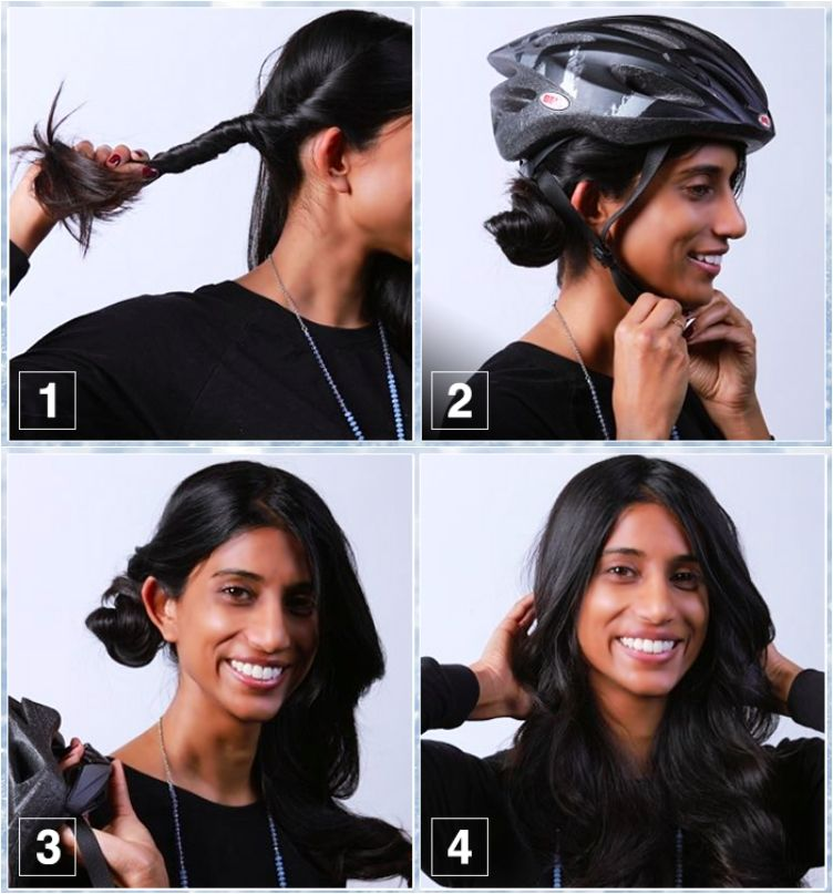 10 Easy Helmet Friendly Hairstyle Tutorials For Looking Stylish When Cycling Hair Tutorial Motorcycle Hairstyles Hair Styles