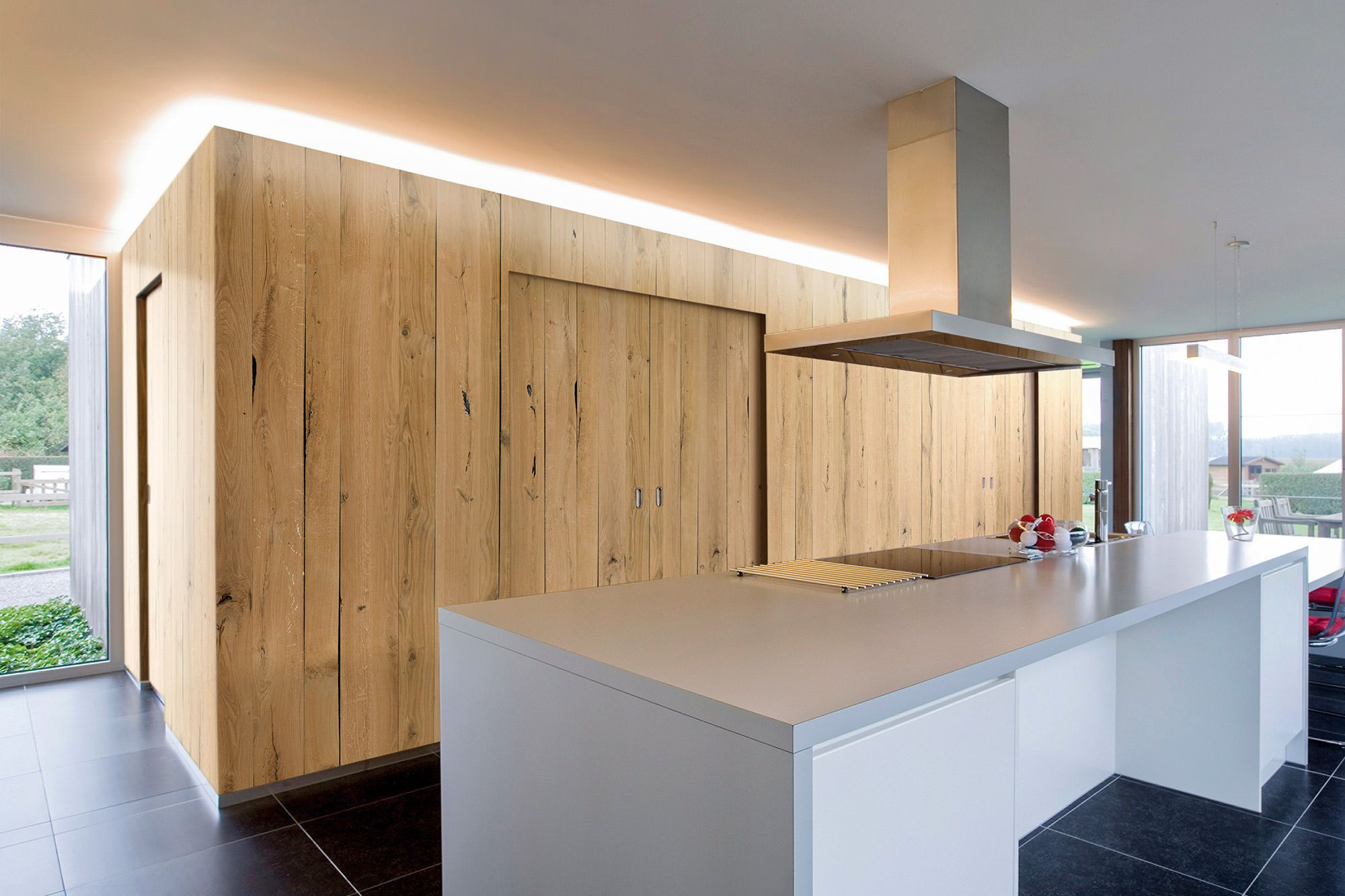 Cabinet Wood Oak Panels Oak Modern Apartment