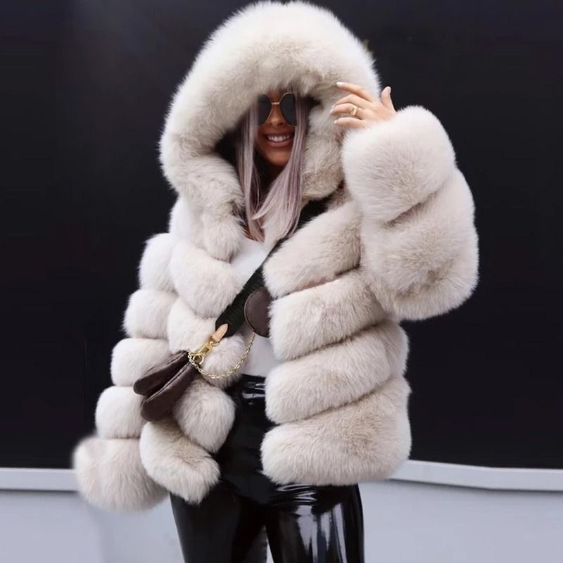 Big Automatic Coupons Christmas Events Short Faux Fur Coat Winter Faux Fur Coat Hooded Coat