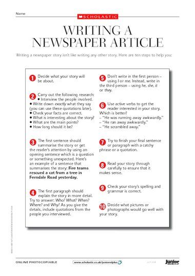writing a newspaper article  in case of journalism  school
